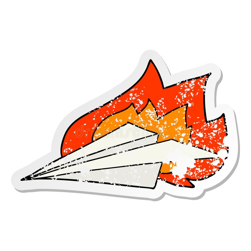 A creative distressed sticker of a cartoon burning paper airplane. An original creative distressed sticker of a cartoon burning paper airplane royalty free illustration