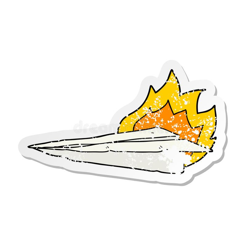 A creative distressed sticker of a cartoon burning paper airplane. An original creative distressed sticker of a cartoon burning paper airplane vector illustration