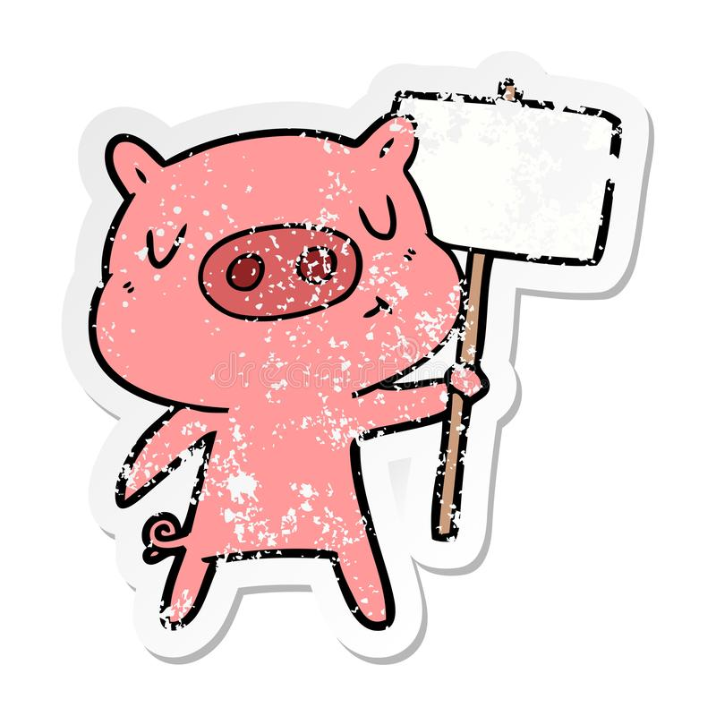 A creative distressed sticker of a cartoon content pig signpost;sign. An original creative distressed sticker of a cartoon content pig signpost;sign stock illustration
