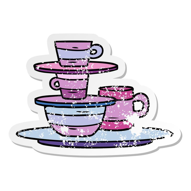 A creative distressed sticker cartoon doodle of colourful bowls and plates. An original creative distressed sticker cartoon doodle of colourful bowls and plates royalty free illustration
