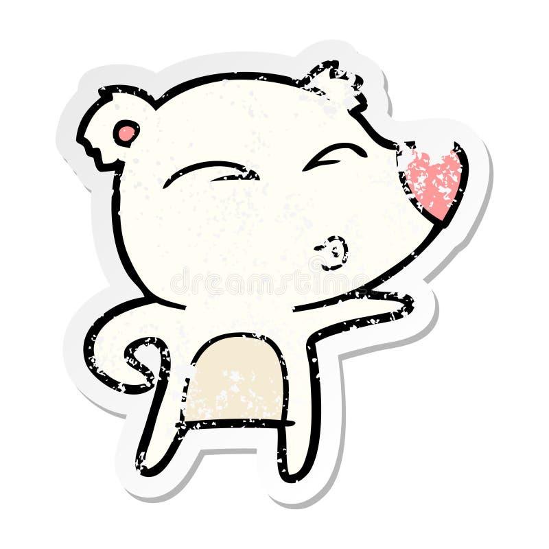 A creative distressed sticker of a cartoon explaining polar bear. An original creative distressed sticker of a cartoon explaining polar bear vector illustration