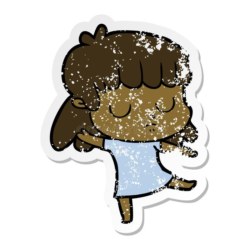 A creative distressed sticker of a cartoon indifferent woman dancing. An original creative distressed sticker of a cartoon indifferent woman dancing royalty free illustration