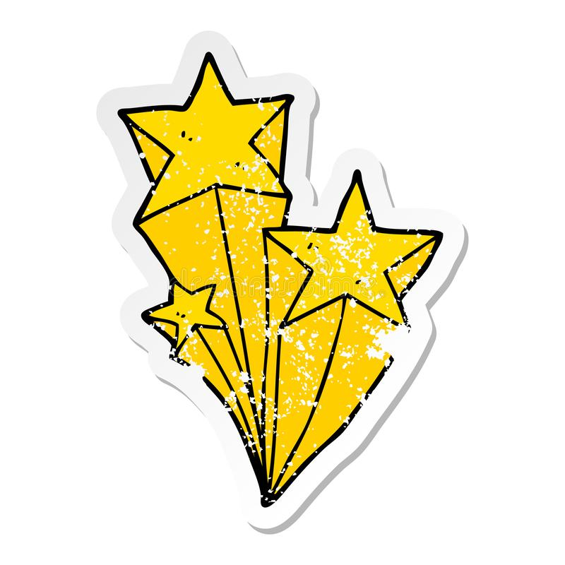 A creative distressed sticker of a cartoon shooting stars. An original creative distressed sticker of a cartoon shooting stars stock illustration