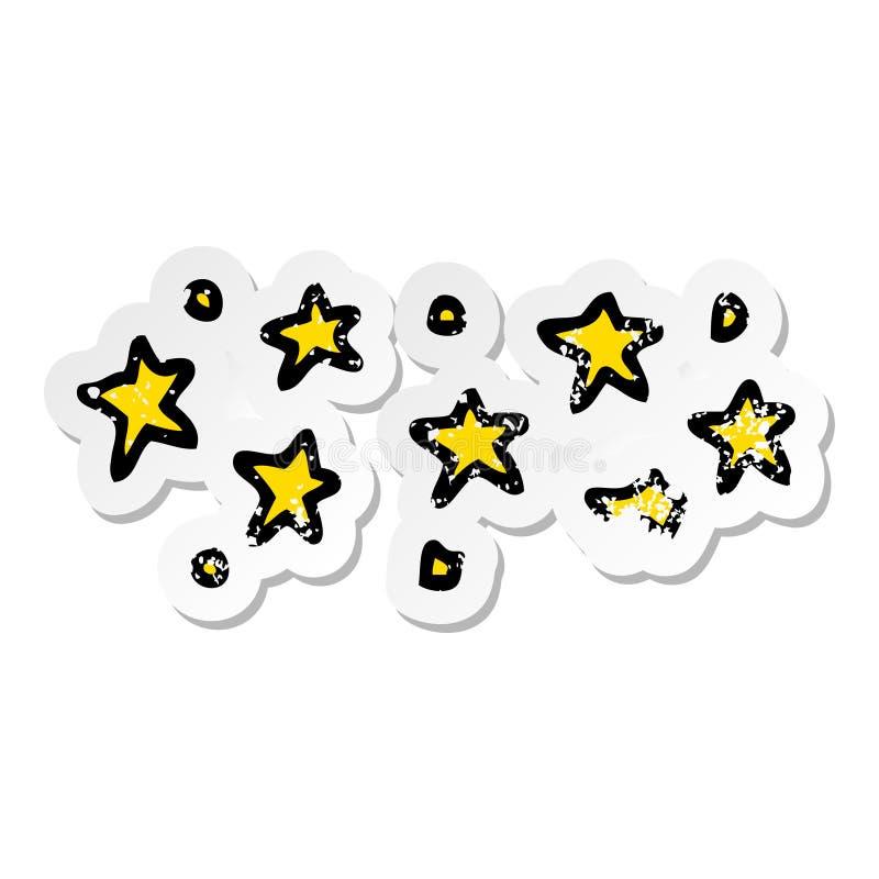A creative distressed sticker of a cartoon stars. An original creative distressed sticker of a cartoon stars stock illustration