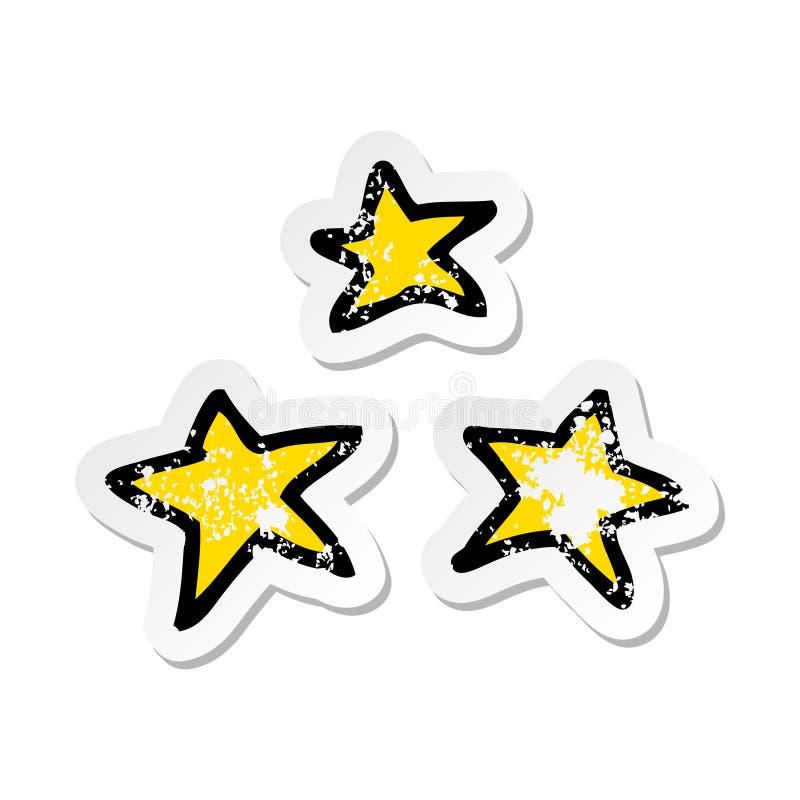 A creative distressed sticker of a cartoon stars. An original creative distressed sticker of a cartoon stars vector illustration