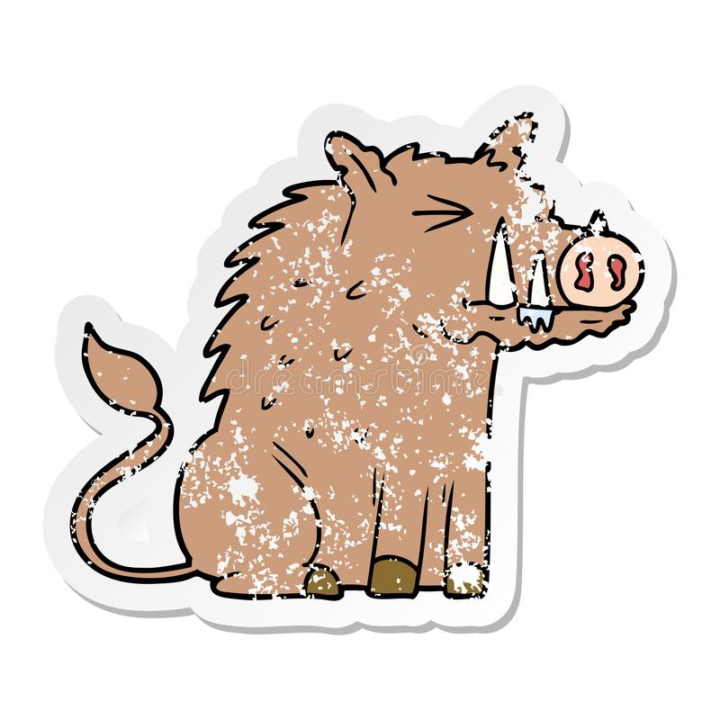 A creative distressed sticker of a cartoon warthog stock illustration
