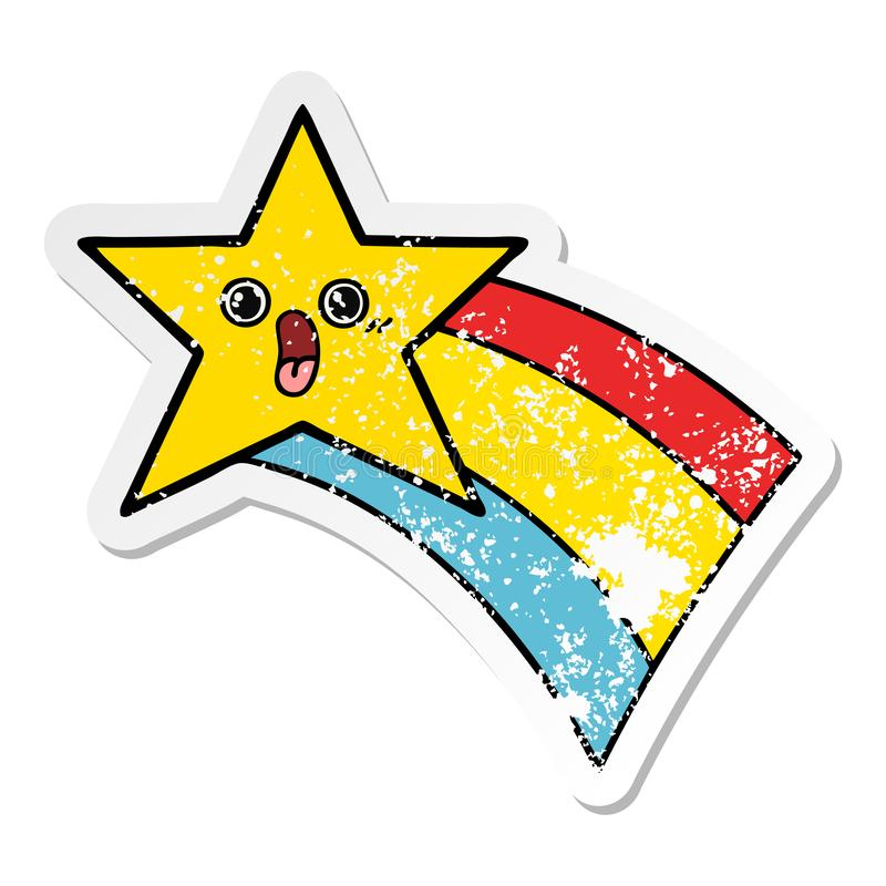 A creative distressed sticker of a cute cartoon shooting rainbow star stock illustration