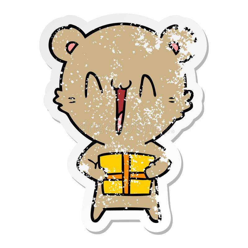A creative distressed sticker of a happy bear with gift cartoon. An original creative distressed sticker of a happy bear with gift cartoon royalty free illustration
