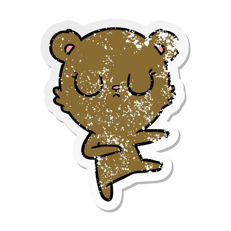 A creative distressed sticker of a peaceful cartoon bear cub. An original creative distressed sticker of a peaceful cartoon bear cub royalty free illustration