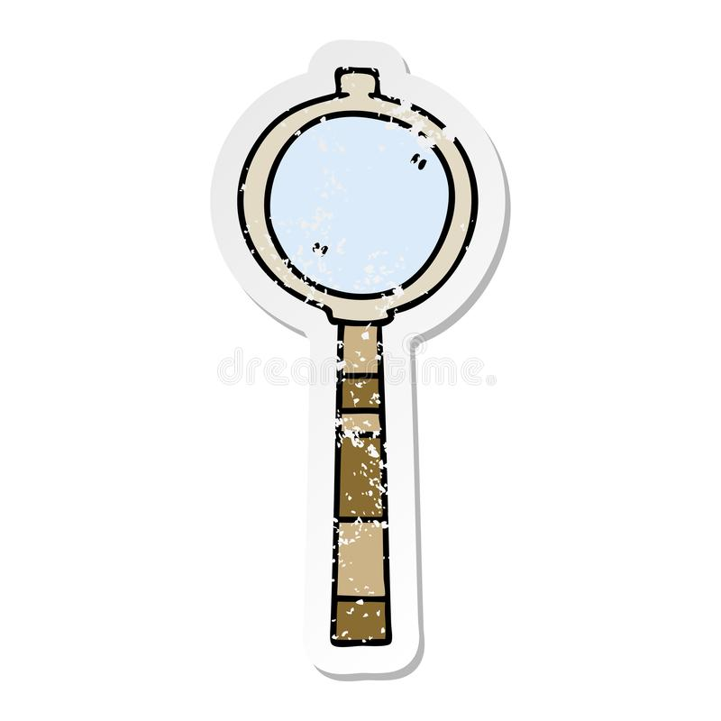 A creative distressed sticker of a quirky hand drawn cartoon magnifying glass. An original creative distressed sticker of a quirky hand drawn cartoon magnifying vector illustration