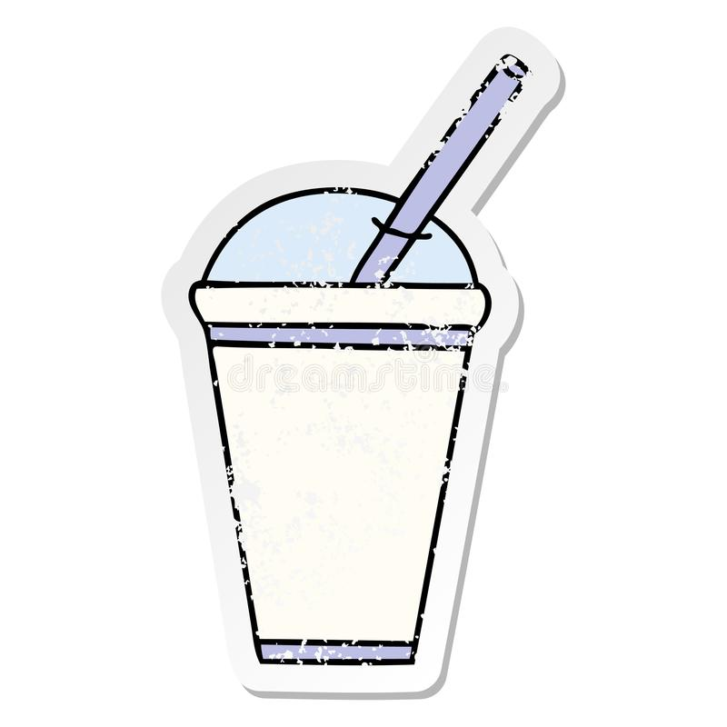 A creative distressed sticker of a quirky hand drawn cartoon soft drink. An original creative distressed sticker of a quirky hand drawn cartoon soft drink stock illustration