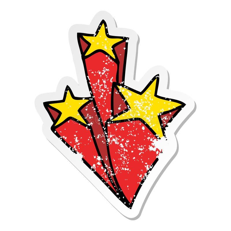 A creative distressed sticker of a quirky hand drawn cartoon stars. An original creative distressed sticker of a quirky hand drawn cartoon stars stock illustration