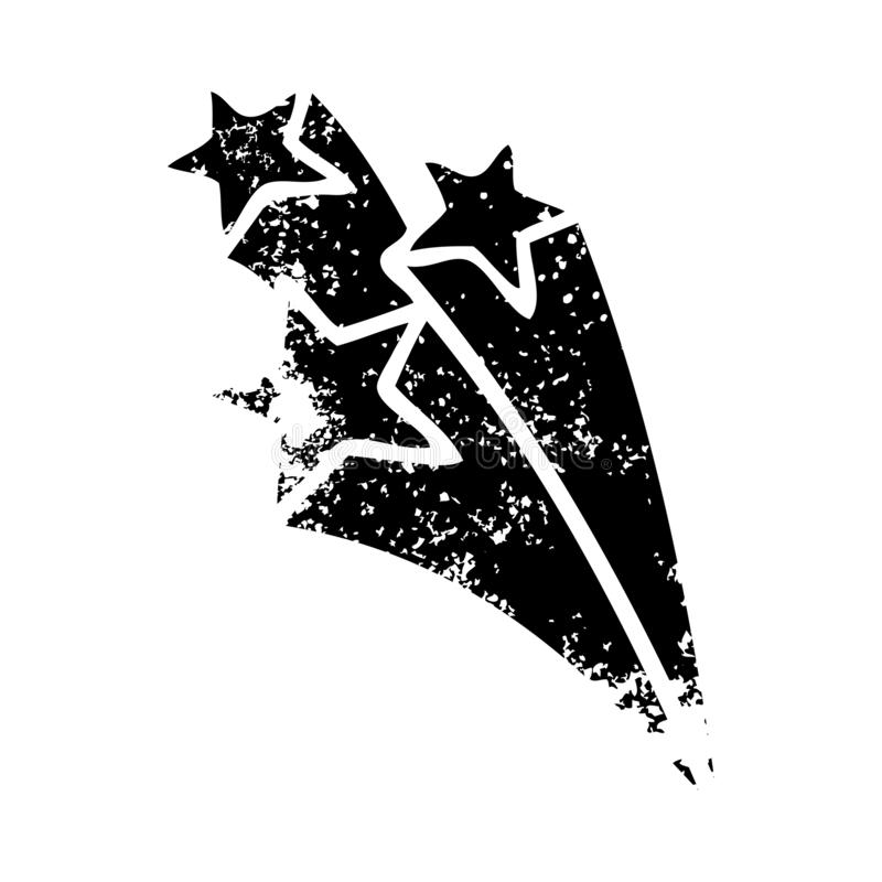 A creative distressed symbol shooting stars. An original creative distressed symbol shooting stars vector illustration