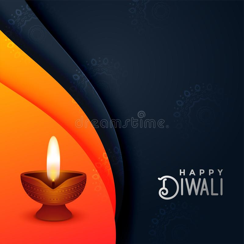 Creative diwali diya in orange and black colors vector illustration