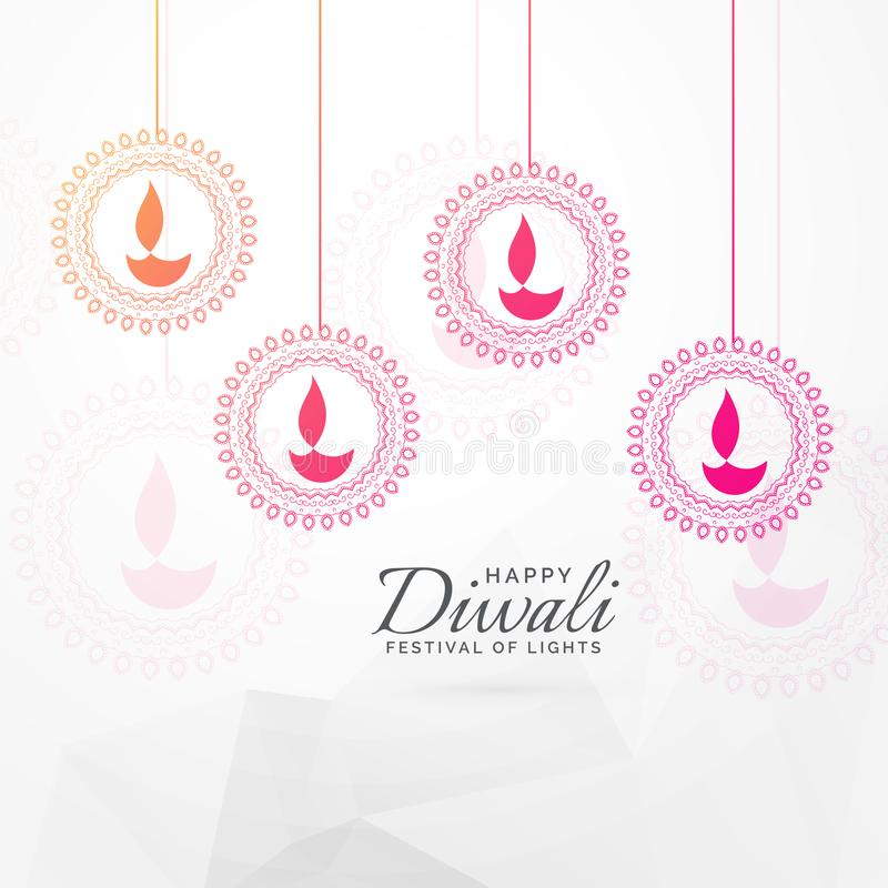Creative diwali festival greeting card design with hanging diya stock illustration
