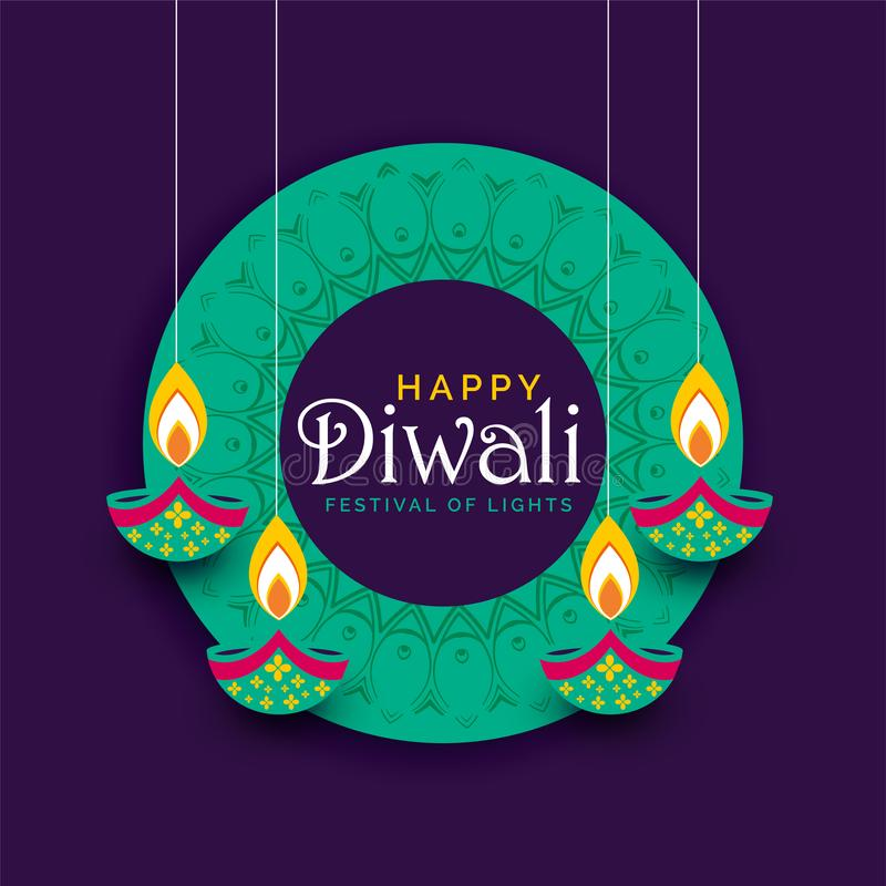 Creative diwali festival poster design background stock illustration