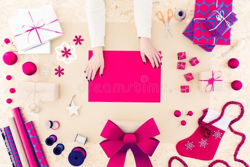 Creative diy seasonal christmas card royalty free stock photography