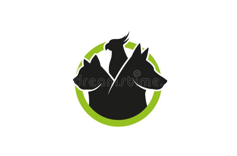 Creative Dog Cat Parrot Pet Circle Logo Design Vector Symbol Illustration royalty free illustration