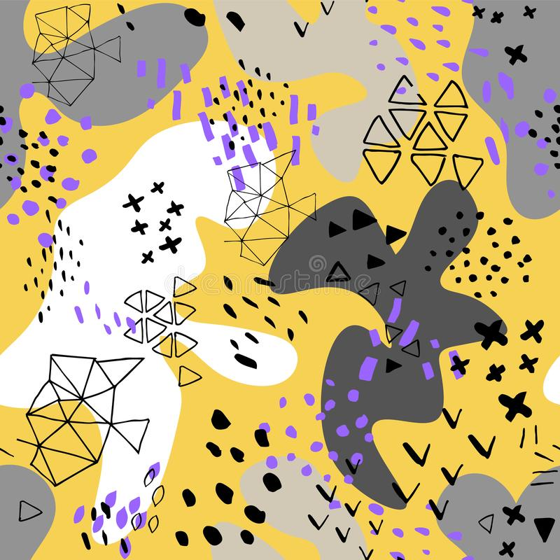 Creative doodle art header with different shapes and textures. Collage.Color splash abstract cartoon background. Abstract pattern stock illustration