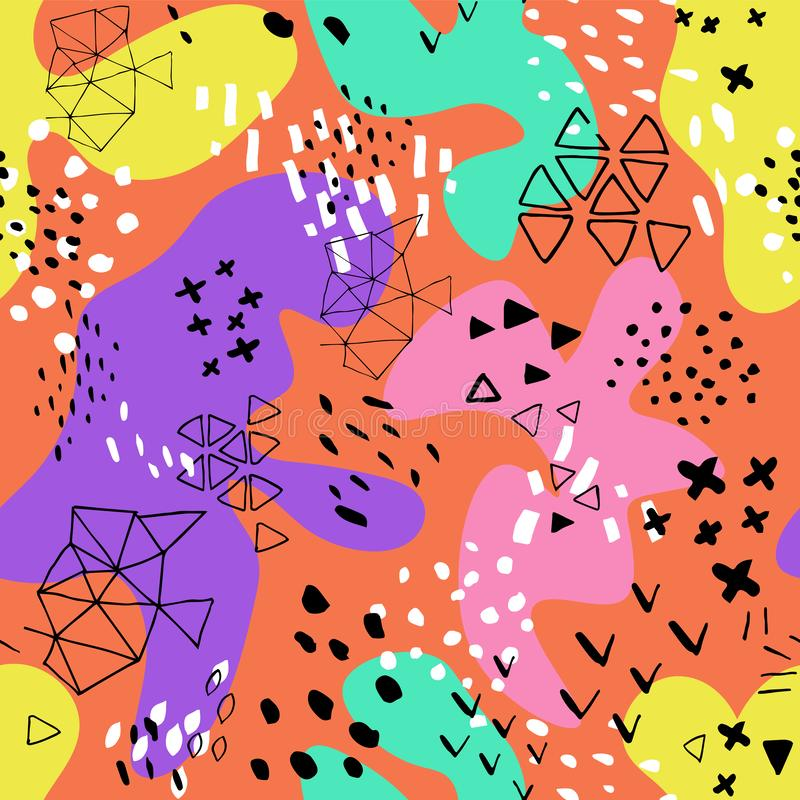 Creative doodle art header with different shapes and textures. Collage.Color splash abstract cartoon background. Abstract pattern vector illustration