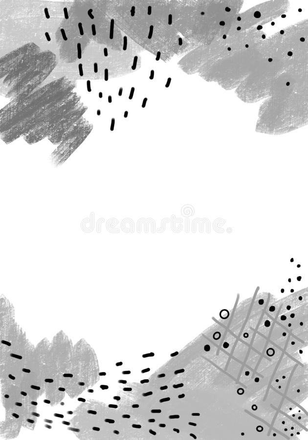 Creative doodle art header with different shapes and textures, memphis style. Design for web, social networks, textile, card royalty free illustration