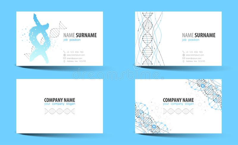 Creative Doublesided Business Card Template DNA Theme Stock - Double sided business card template