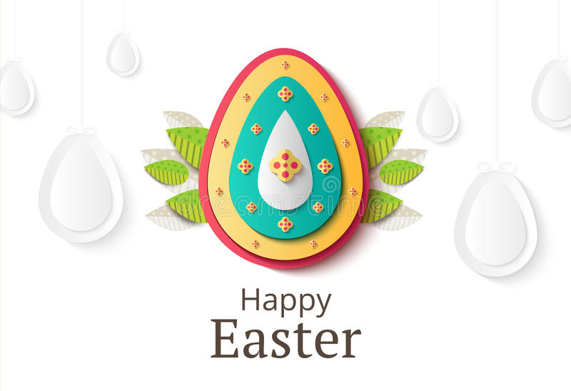 Creative Easter background. Abstract egg festive decoration. Vector holiday layout for poster, flyer or newsletter. Paper shapes. Banner stock illustration