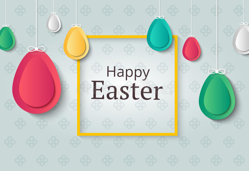 Creative Easter background. Abstract egg festive decoration. Vector holiday layout for poster, flyer or newsletter. Paper shapes. Banner vector illustration