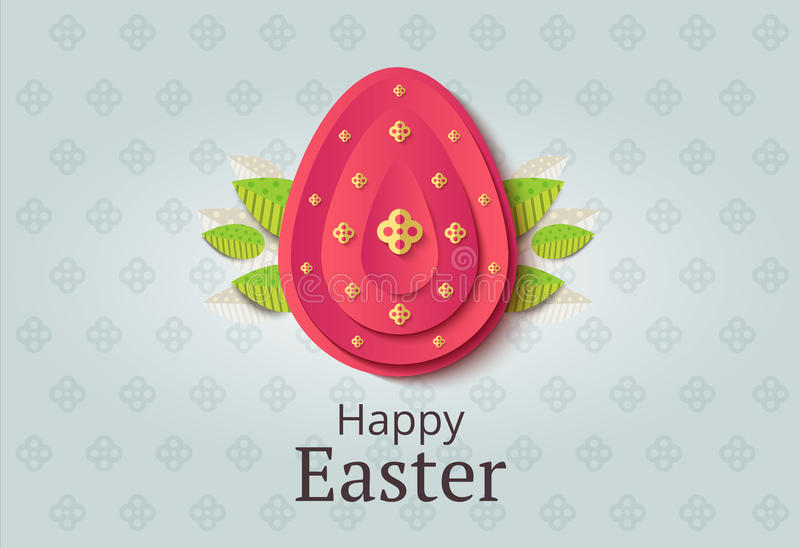 Creative Easter background. Abstract egg festive decoration. Vector holiday layout for poster, flyer or newsletter. Paper shapes. Banner royalty free illustration
