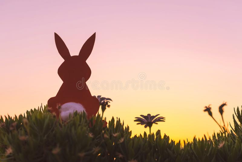 Creative easter photo of silhouette paper rabbit in the chamomile flowers and green grass on the sunset sky background. royalty free stock photo
