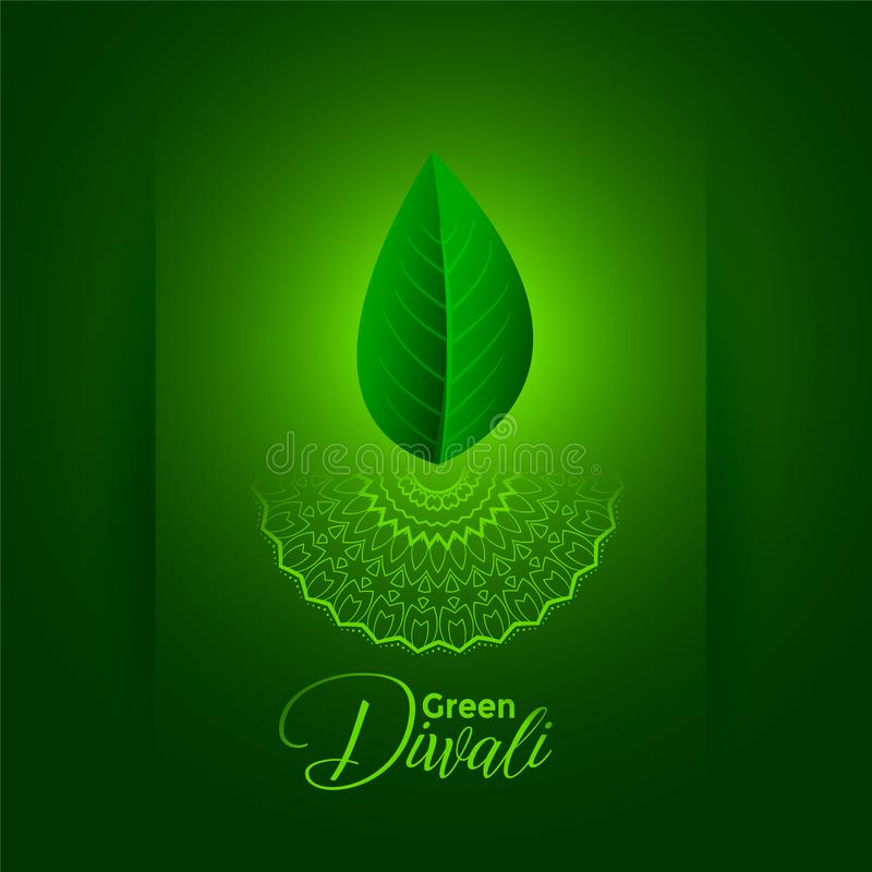 Creative eco friendly green diwali festival concept background. Vector royalty free illustration