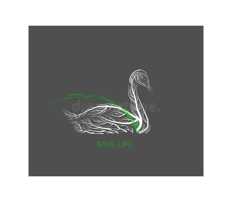 Free Creative Eco Logo, Save The Animal Idea, Swan Like Tree On Grey Background, Green Product, Eco Production, Royalty Free Stock Photography - 169435567