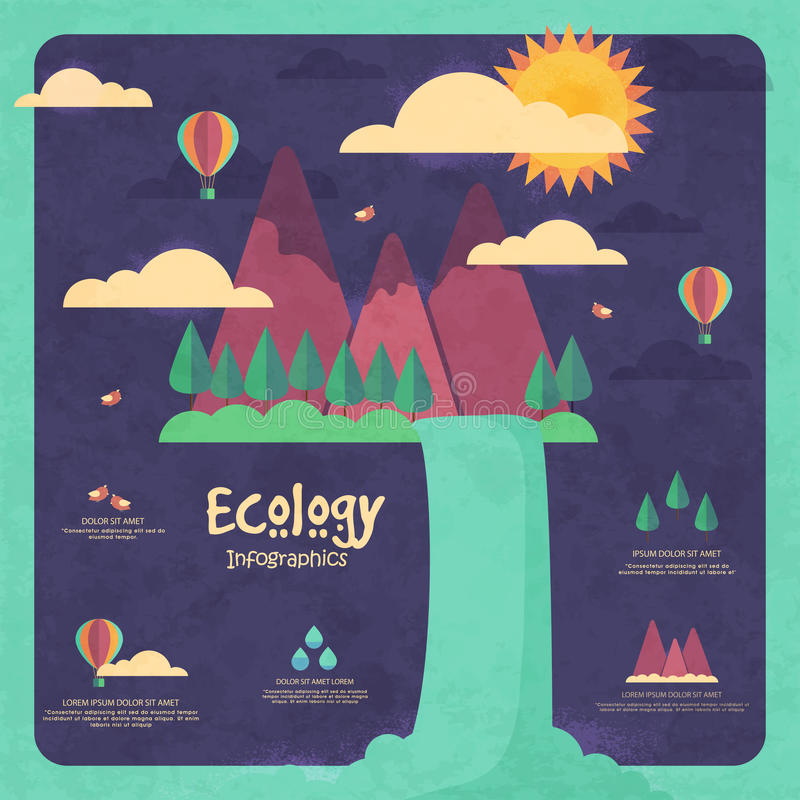 Creative ecological infographic template layout. Creative ecological template layout with illustration of water coming out from mountains on grungy stylish royalty free illustration