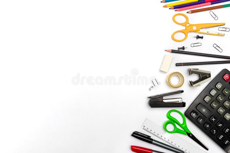 Creative education and back to school flat lay concept. Items and supplies for students on a white background with copy space stock image