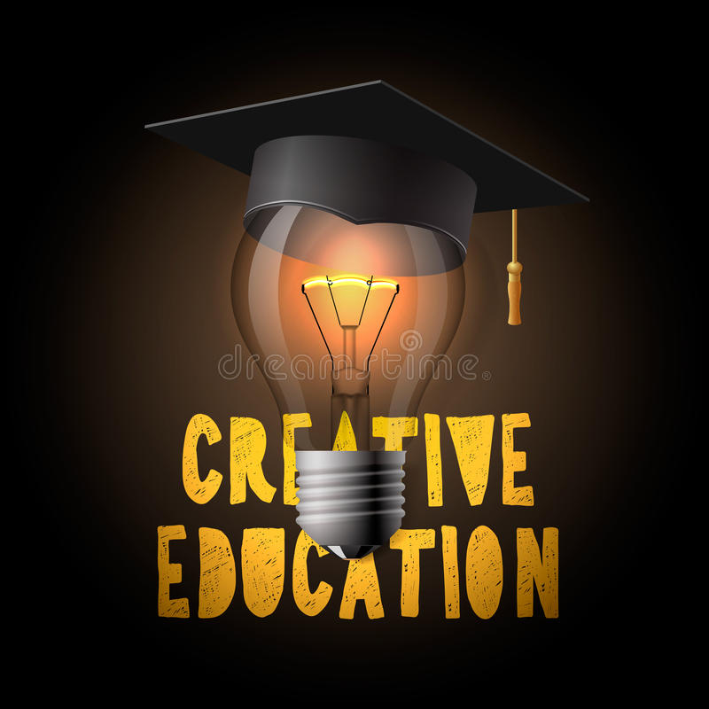 Creative education design, bulb with mortarboard. Creative education design, light bulb with mortarboard, vector illustration vector illustration