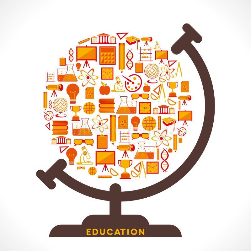 Creative education icon design globe. Creative globe design with educational icon concept vector royalty free illustration