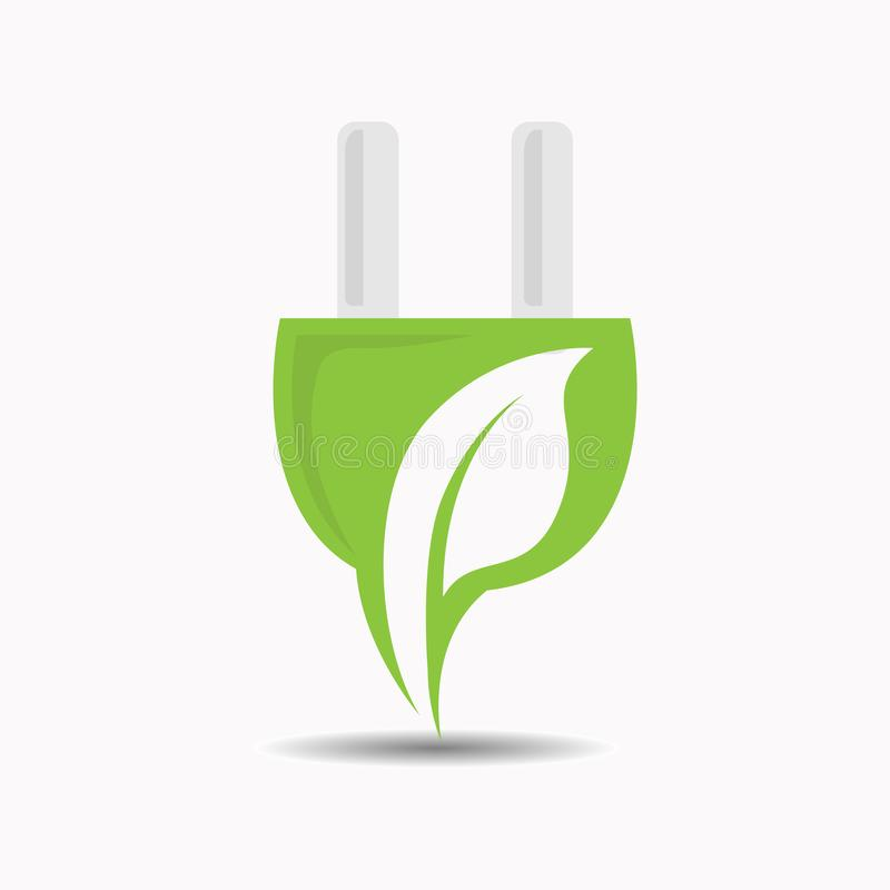 Creative electric plugs with a leaf inside in negative space style vector design royalty free illustration