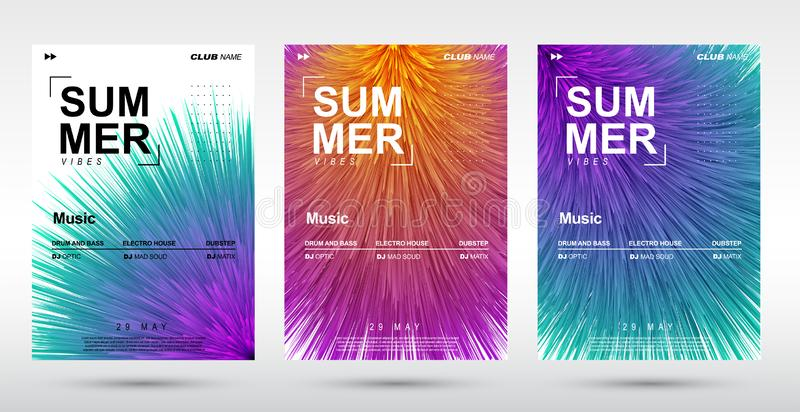 Creative electronic music fest and electro summer poster. Abstract plush gradients music background royalty free stock image