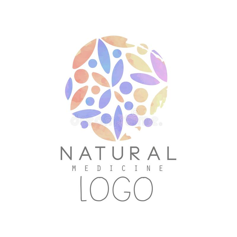 Creative emblem with colorful floral pattern in circle shape. Natural medicine and wellness concept. Logo design for spa. And health center. Watercolor vector vector illustration