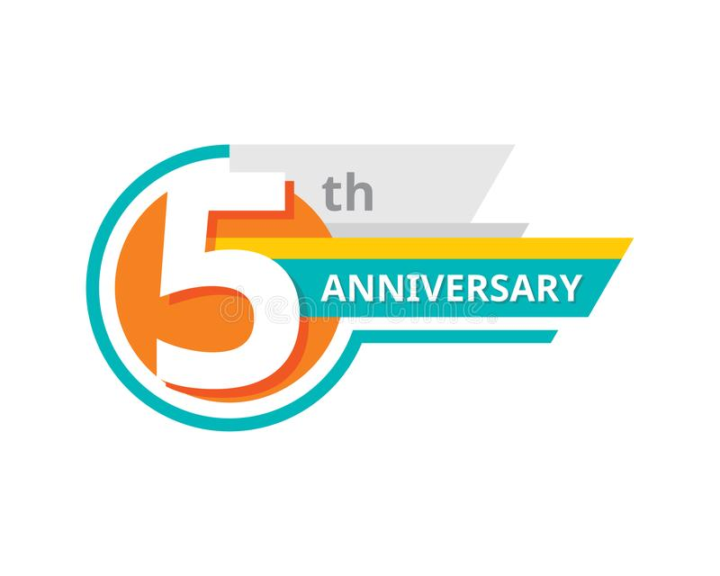 Creative emblem 5 th years anniversary. Five template logo badge design element. Abstract geometric banner on white background. vector illustration