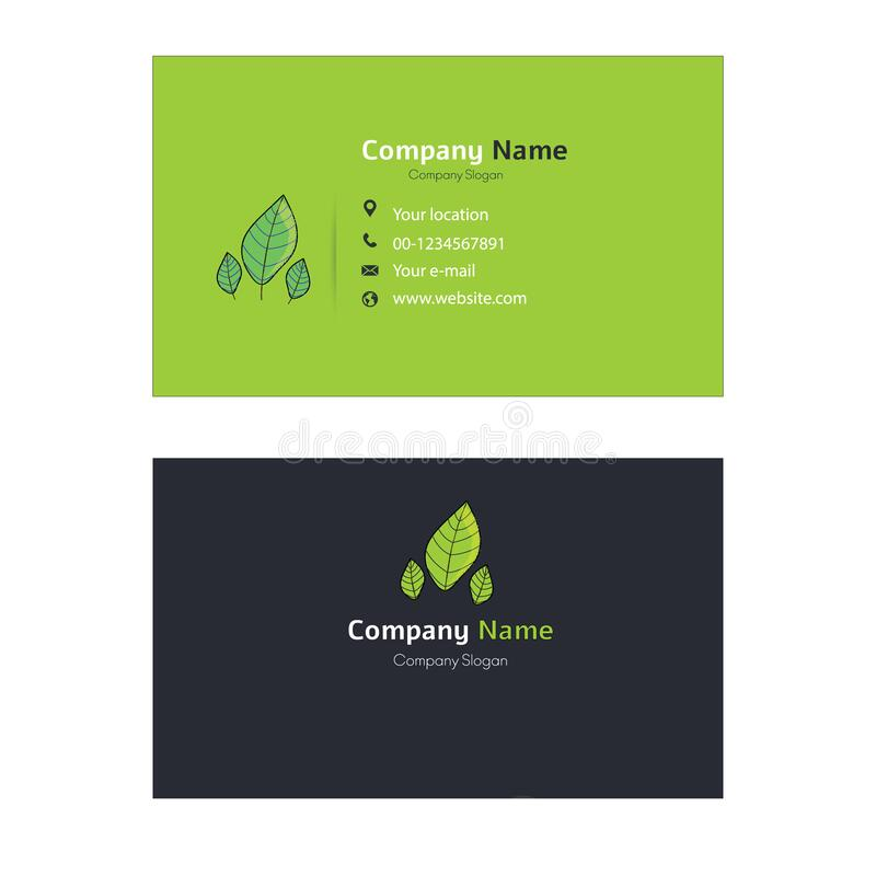 Creative en Clean Dubbelzijdig eco-visitekaartje in grijze en groene kleuren stock illustratie
