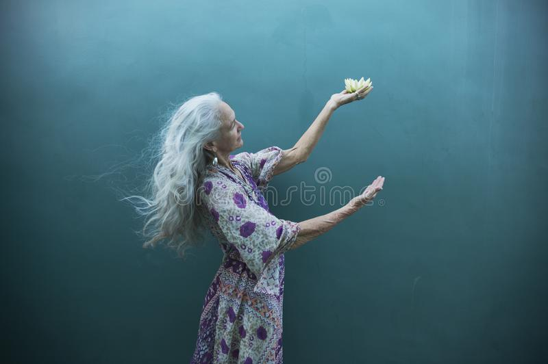 Creative Expressions Of A Spiritual Senior Woman royalty free stock photography