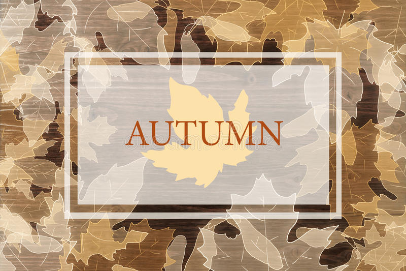 Creative fall background. Creative autumn or fall background with leaves on wooden surface vector illustration