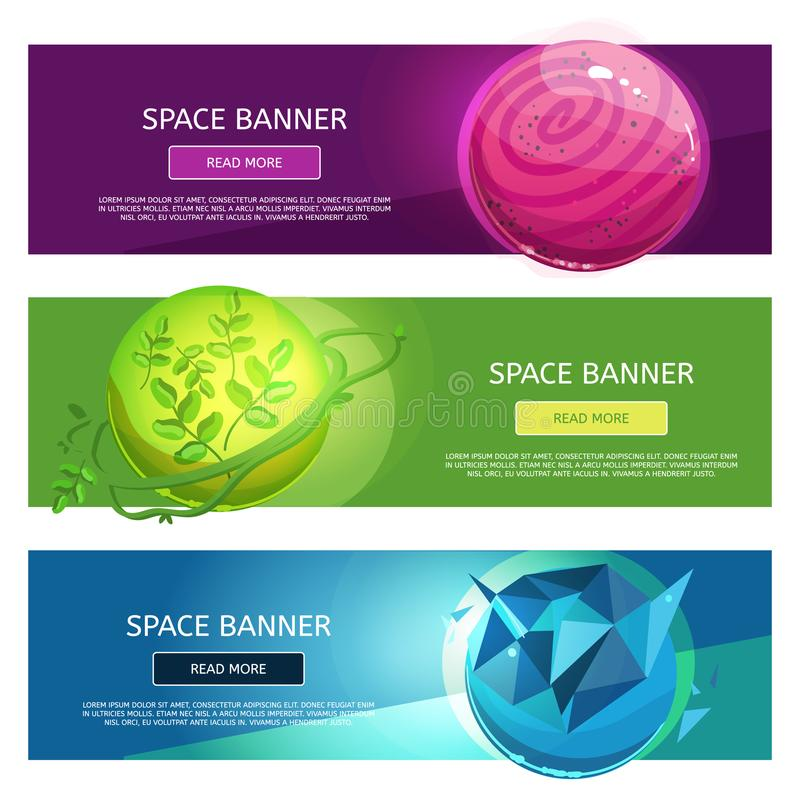 Creative fantsy planets banner set royalty free illustration