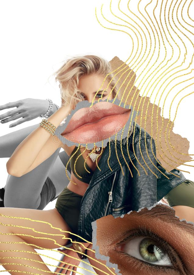 Creative fashion collage with beautiful young woman royalty free stock photography