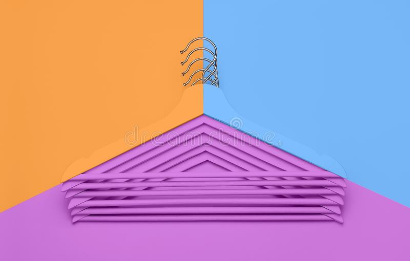 Creative fashion concept. Flat lay top view colored wooden hangers on blue pink orange neon background minimalism style. Pop-art. Sale discount store shopping stock photography