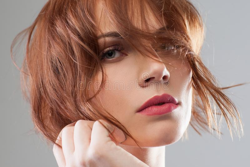 Tender Beauty Portrait, Floral Wreath In Hair Stock Photo