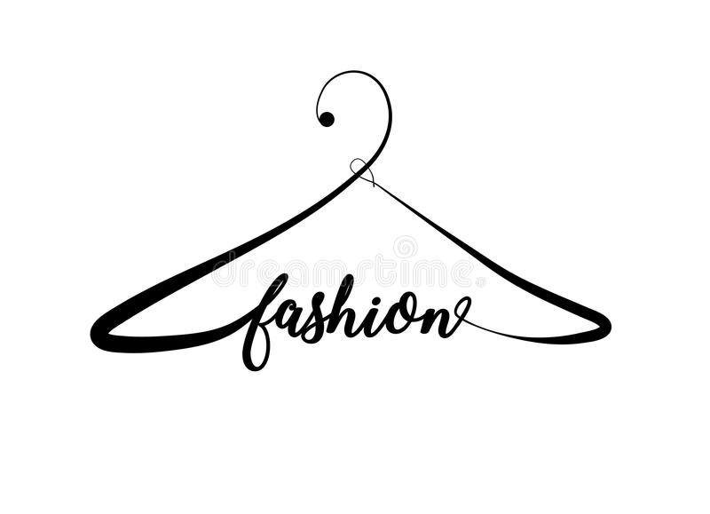 Creative fashion logo design. Vector sign with lettering and hanger symbol. Logotype calligraphy royalty free illustration