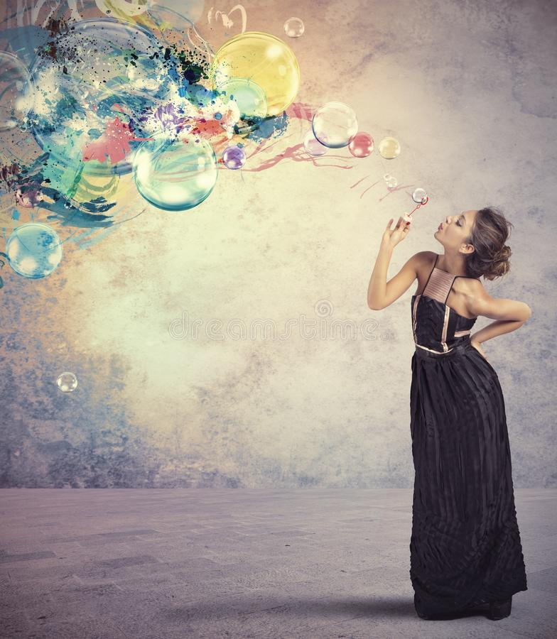 Creative fashion with soap ball stock photo