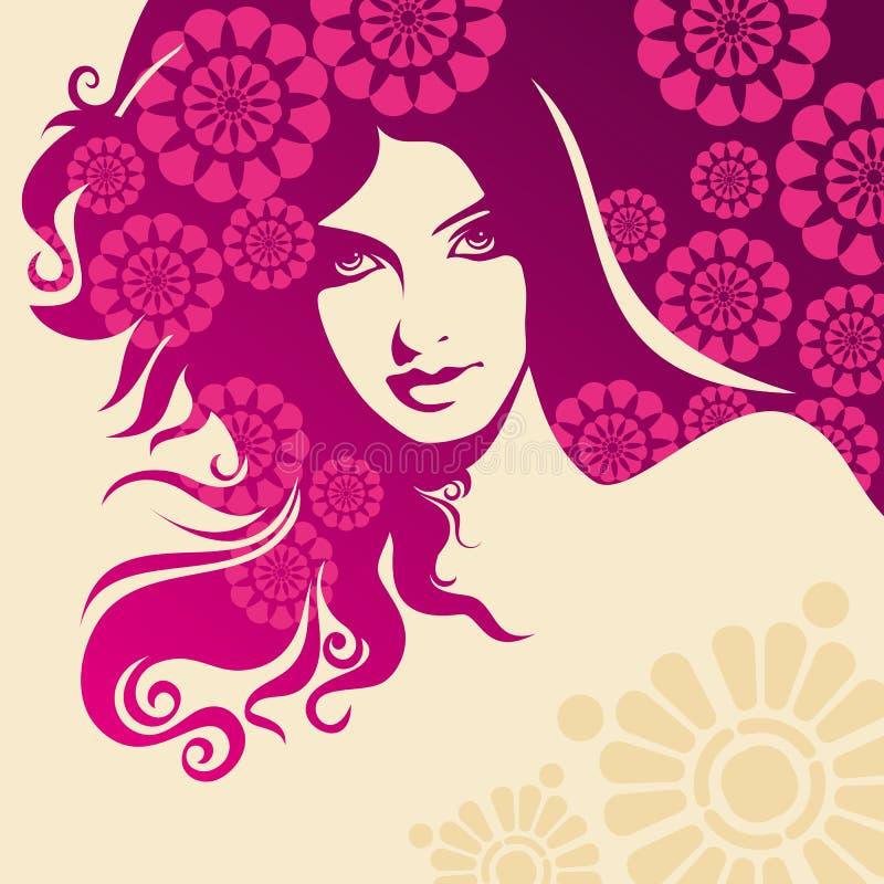 Creative fashion women portrait, vector illustration